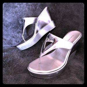 BCBG metallic silver thong wedge sandals. Size 7